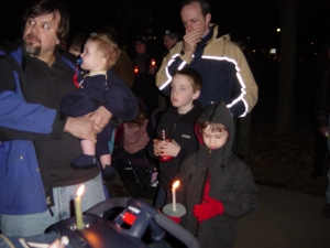 Evanston, IL candlelight vigil on the eve of U.S./Iraq war, March 2003.
