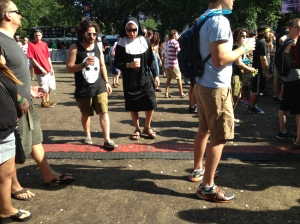 Sister Blister gives spiritual advice to a fellow hipster. At North Coast Music Festival, Chicago.