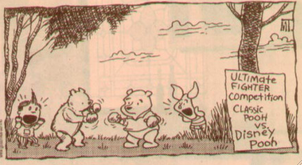 "Classic Pooh is clearly the underdog, but he may yet have a shot. [Excerpt of a Mark Tatulli 2008 ""Lio"" comic strip.]"