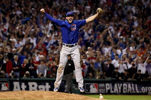 Kris Bryant, after making the last put-out of the World Series. He smiled from the moment the ball was hit to him.